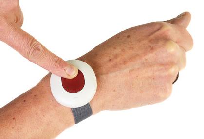 senior citizens alarm button isolated on white